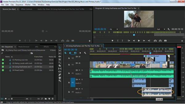 Using keyframes and the Pen tool to mix: Premiere Pro Guru: Cutting with Music