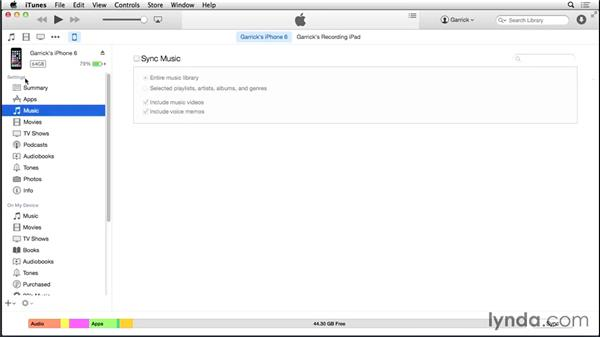 Syncing music, movies, and ringtones: iOS 8: iPhone and iPad Essential Training