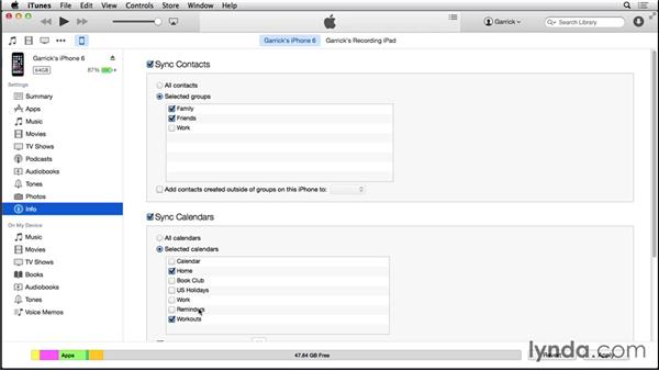Syncing contacts and calendars from a Mac: iOS 8: iPhone and iPad Essential Training