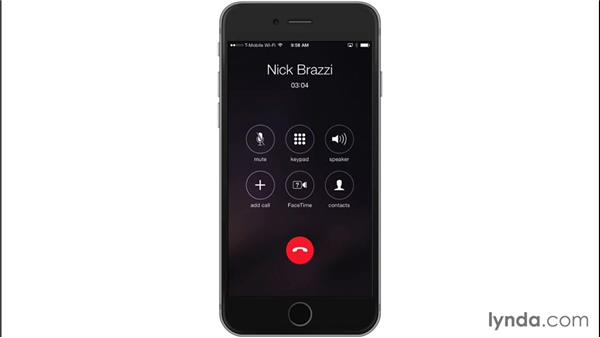 Using the iPhone during a call: iOS 8: iPhone and iPad Essential Training