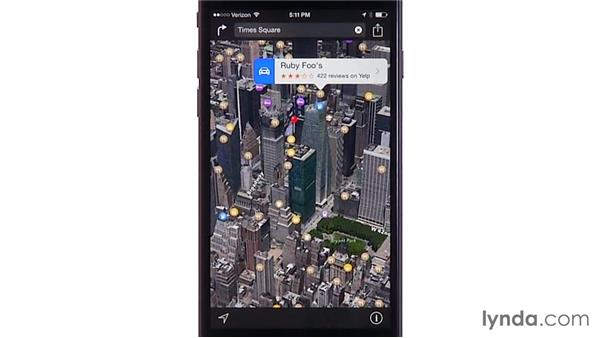 Using 3D and Flyover views: iOS 8: iPhone and iPad Essential Training