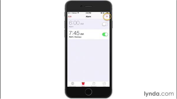 Using the Clock app: iOS 8: iPhone and iPad Essential Training