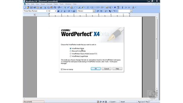 The Workspace Selection screen: WordPerfect Office X4 Essential Training