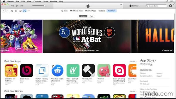 Browsing the App Store through iTunes: iOS 8: iPhone and iPad Essential Training
