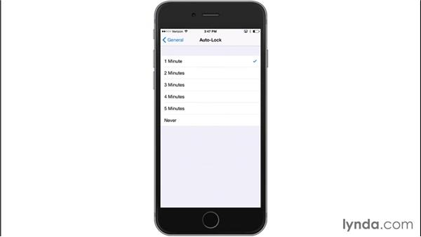 Using Auto-Lock: iOS 8: iPhone and iPad Essential Training