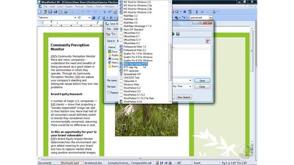 Saving a file : WordPerfect Office X4 Essential Training
