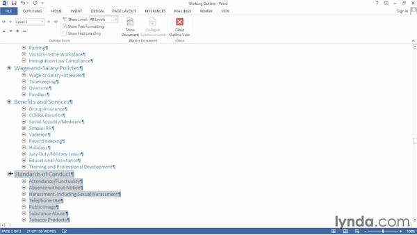 Editing an outline: Word 2013: Creating Long Documents