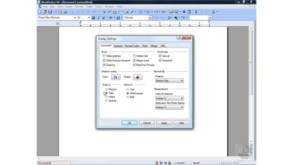 Modifying display settings: WordPerfect Office X4 Essential Training