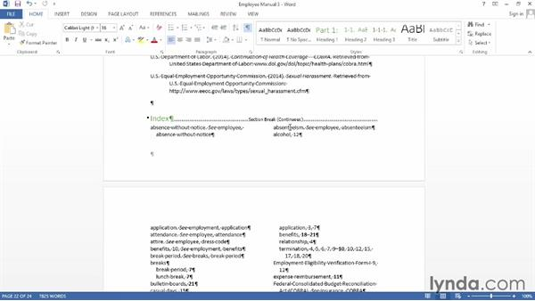 Inserting page and section breaks: Word 2013: Creating Long Documents