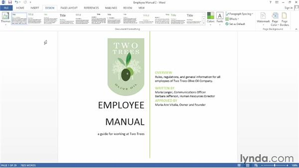 Setting the document theme: Word 2013: Creating Long Documents