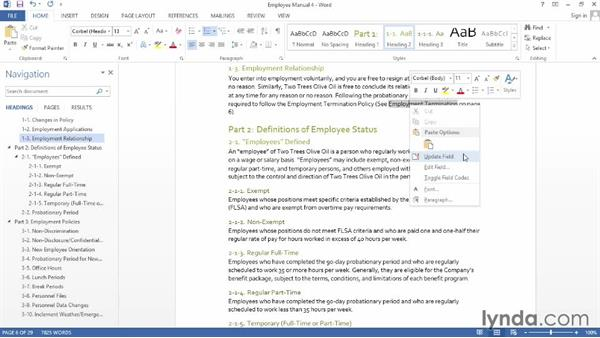 Updating automatically generated content: Word 2013: Creating Long Documents