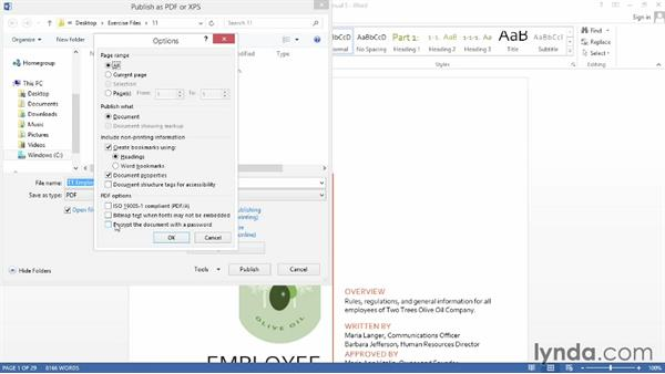 Exporting a long document as a PDF: Word 2013: Creating Long Documents