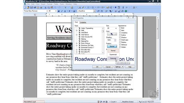 Formatting text : WordPerfect Office X4 Essential Training