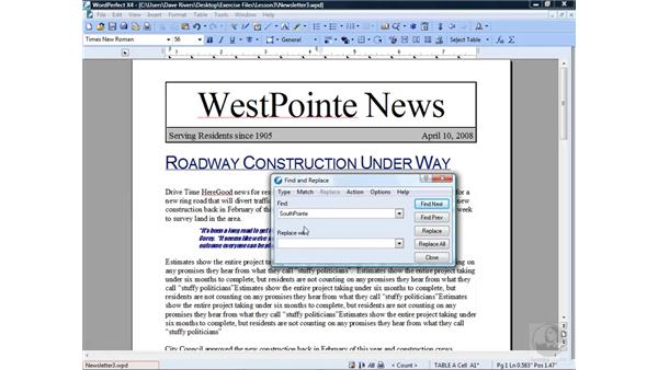 Using Find and Replace: WordPerfect Office X4 Essential Training