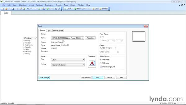 Printing a sheet or an object: Up and Running with QlikView