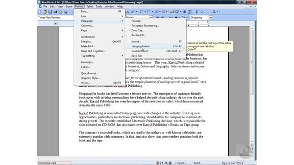 Using indents : WordPerfect Office X4 Essential Training