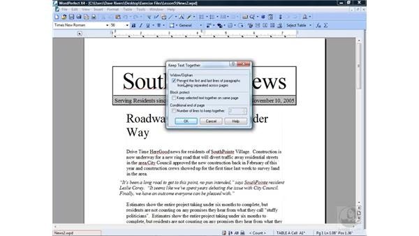 Keeping text together: WordPerfect Office X4 Essential Training