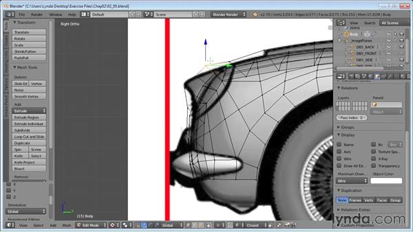 Roughing out the hood and front end: Vehicle Modeling in Blender