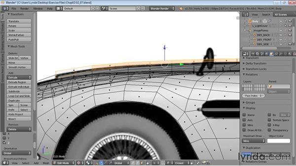 Finishing the hood: Vehicle Modeling in Blender