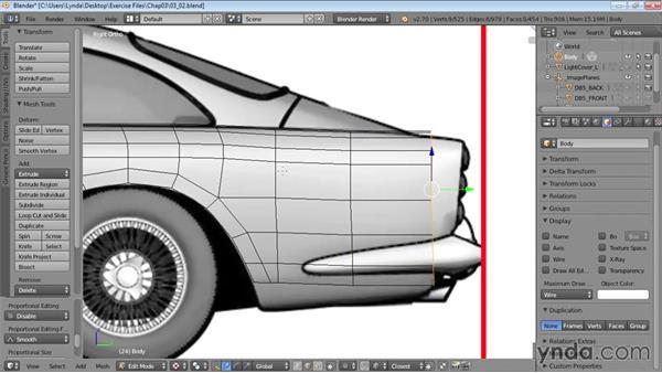 Blocking out the rear fender: Vehicle Modeling in Blender