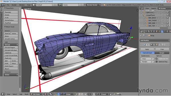 Smoothing and edging the model: Vehicle Modeling in Blender