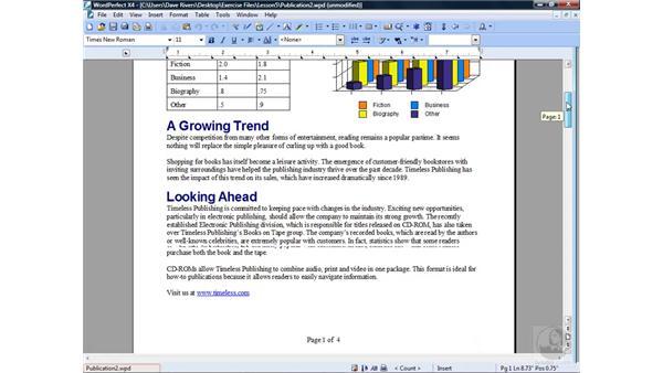 Suppressing elements: WordPerfect Office X4 Essential Training