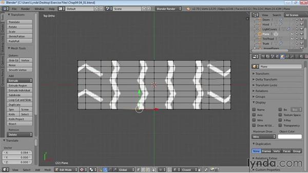 Blocking out the tire-tread pattern: Vehicle Modeling in Blender