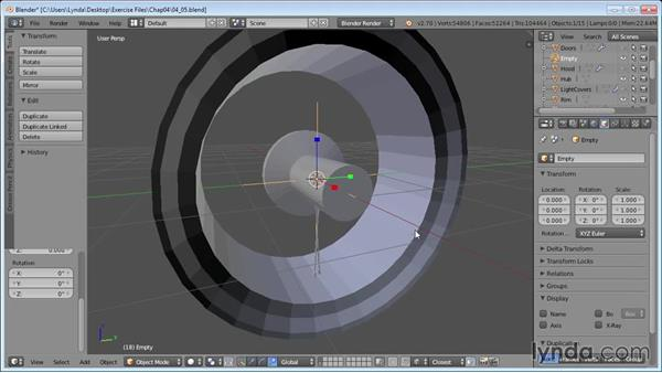 Populating the wheels with spokes: Vehicle Modeling in Blender