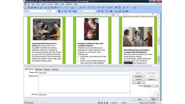 Using the spell checker: WordPerfect Office X4 Essential Training