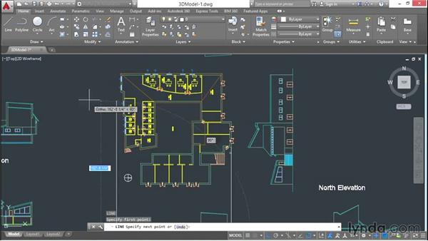 Arranging elevations and sections around the plan: 3D Architectural Modeling with AutoCAD