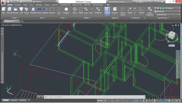 Moving the ceiling using a point filter: 3D Architectural Modeling with AutoCAD
