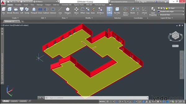 Building the first-floor slab: 3D Architectural Modeling with AutoCAD