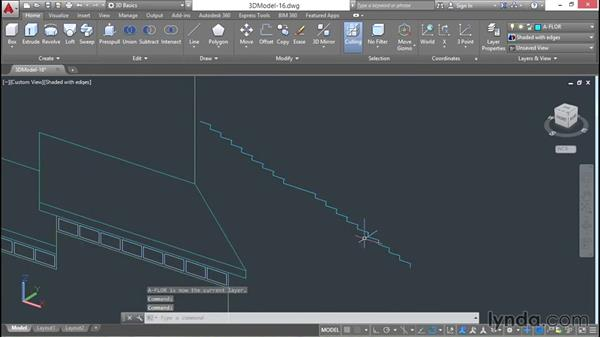 Joining and extruding stair profiles: 3D Architectural Modeling with AutoCAD