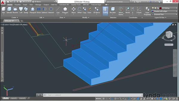 Building a railing that follows a 3D path: 3D Architectural Modeling with AutoCAD