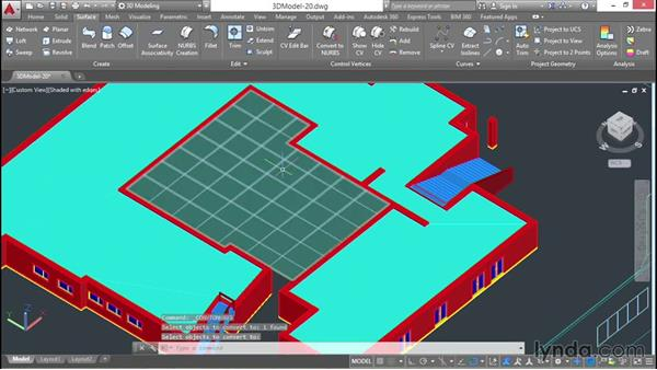 Shaping the courtyard as a NURBS surface: 3D Architectural Modeling with AutoCAD