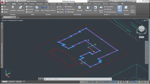 Extruding the second-floor walls: 3D Architectural Modeling with AutoCAD