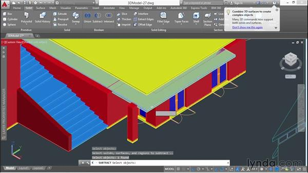 Filling in voids in slabs and walls: 3D Architectural Modeling with AutoCAD