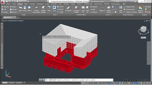 Performing a Boolean subtraction: 3D Architectural Modeling with AutoCAD