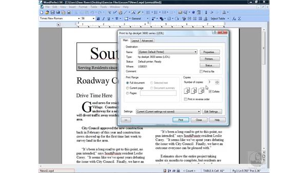 Setting print options and printing: WordPerfect Office X4 Essential Training