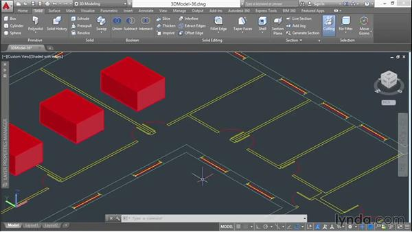 Cutting openings in courtyard walls: 3D Architectural Modeling with AutoCAD