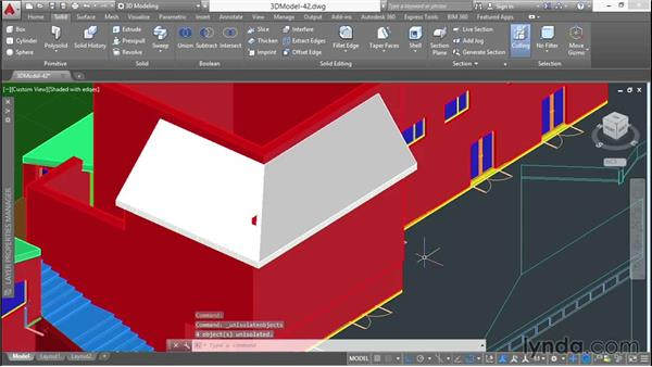 Filling in walls under the roof: 3D Architectural Modeling with AutoCAD