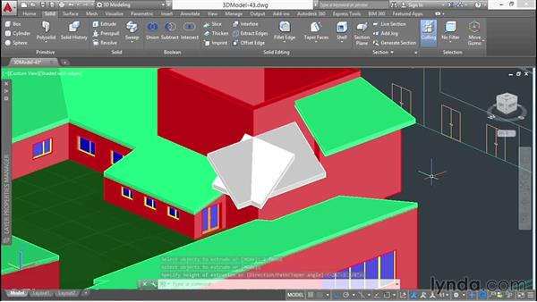 Making a wraparound roof with 3D poly objects: 3D Architectural Modeling with AutoCAD