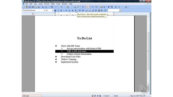 Editing a bulleted list: WordPerfect Office X4 Essential Training