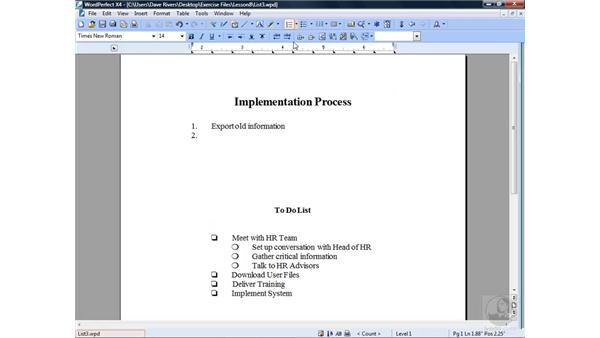 Creating a numbered list: WordPerfect Office X4 Essential Training