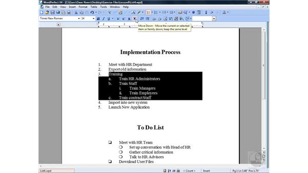 Editing a numbered list: WordPerfect Office X4 Essential Training