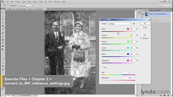 Fixing the color cast and stains by converting to black and white: Photo Restoration Techniques: Damaged Black-and-White Images