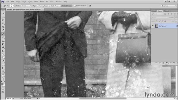 Restoring the cracks and spots with Spot Healing Brush and Patch: Photo Restoration Techniques: Damaged Black-and-White Images