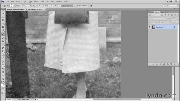 Using Patch to correct bad cloning marks: Photo Restoration Techniques: Damaged Black-and-White Images