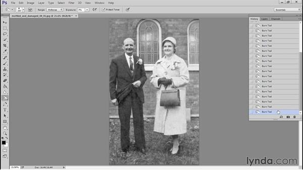 Adding some contrast and depth and a warm tone wash: Photo Restoration Techniques: Damaged Black-and-White Images