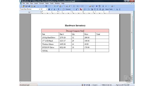 Formatting tables : WordPerfect Office X4 Essential Training